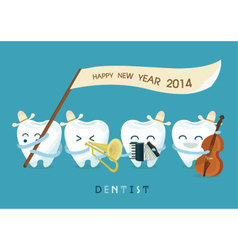 Happy new year dentist vector