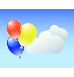 Balloons with clouds vector