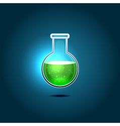 Glass chemical flask with green toxic liquid vector
