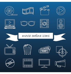 Movie outline icons vector