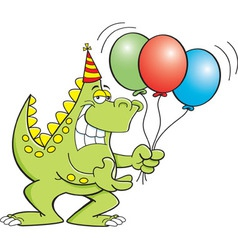 Cartoon dinosaur holding balloons vector