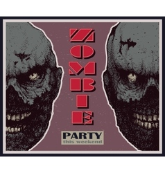 Halloween zombie party banner vector