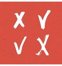 Check marks red texture set vector