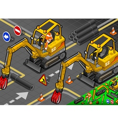 Isometric mini mechanical arm excavator in front vector