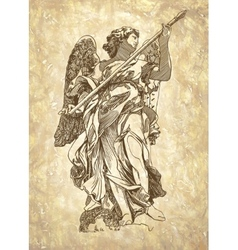 Sketch digital drawing marble statue of angel vector