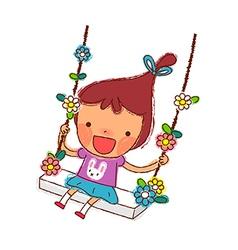 Portrait of girl swinging vector