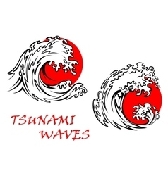 Tsunami waves with red sun behind vector
