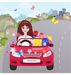 Gifting girl convertible vector