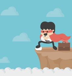 Super businessman on precipice vector