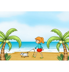 A girl with a dog walking vector