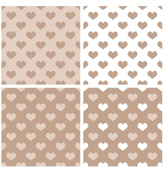 Seamless pastel hearts wallpaper background set vector