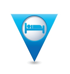 Bed blue triangular map pointer vector