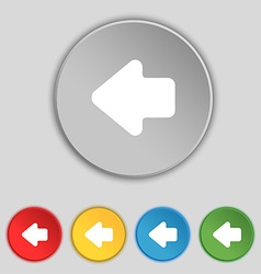 Arrow left way out icon sign symbol on five flat vector