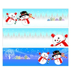 Snowman mascot using a variety of banner designs vector