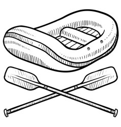 Doodle rafting logo vector