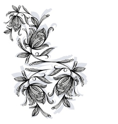 Floral pattern rose black and white vector