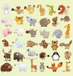 Cartoon animal set vector