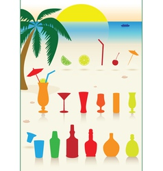 Tropical drinks set vector