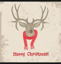 Deer vintage christmas card animal vector