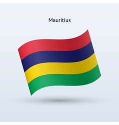 Mauritius flag waving form vector
