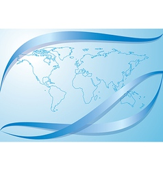 Light blue background with contour of world map vector