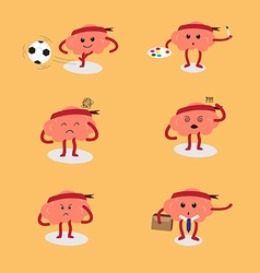 Brain cartoon action vector