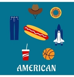 American flat symbols and icons vector