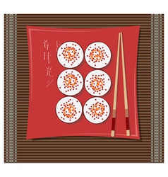 Sushi on a plate vector