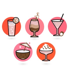 Retro drinks set isolated on white - pink and red vector