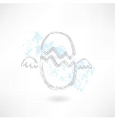 Flying egg grunge icon vector