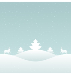 Christmas retro winter lanscape and trees vector