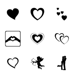 Black love icons set vector