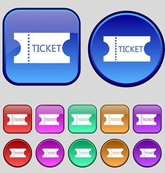 Ticket icon sign a set of twelve vintage buttons vector