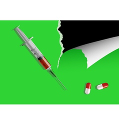 Syringe and pills on green leaf vector