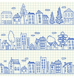 Houses doodles on school squared paper vector