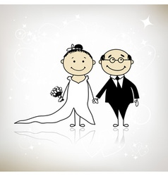 Wedding ceremony - bride and groom together vector