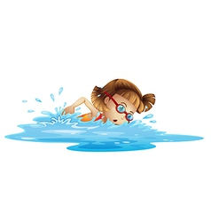 A small girl swimming vector