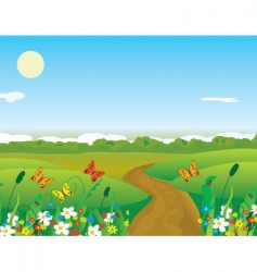 Butterflies meadow vector