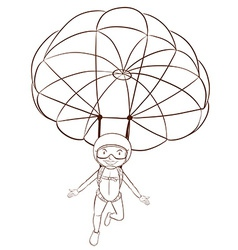 A plain sketch of a person skydiving vector