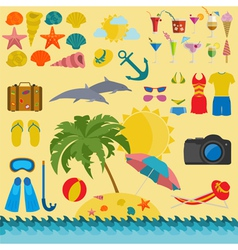 Travel vacations beach resort set icons elements vector