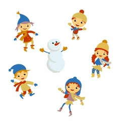 Winter little girl snowman christmas boy snow vector