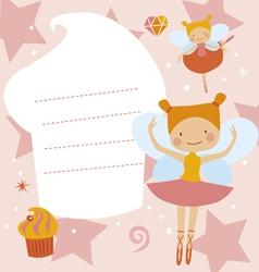 Card with ballerinas fairies vector