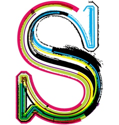 Grunge colorful font letter s vector