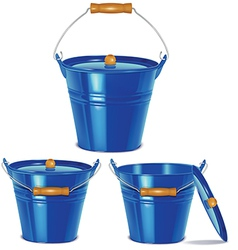 Metal blue buckets vector