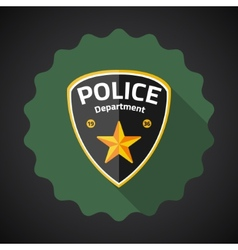 Police badge flat icon background vector