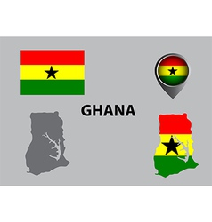 Map of ghana and symbol vector