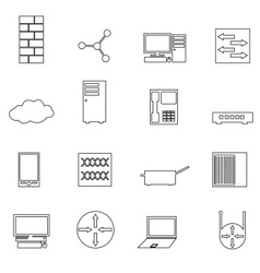 Computer network simple outline icons set eps10 vector