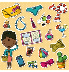 African-american trendy girl and female things vector