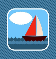 App icon boat in sea vector