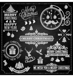 Christmas ornaments chalk set vector